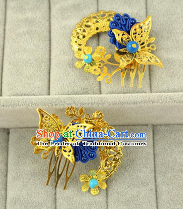 Asian Chinese Handmade Classical Hair Accessories Princess Hairpins Blue Butterfly Hair Comb for Women