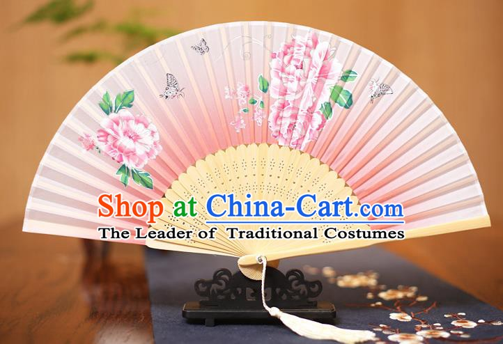Traditional Chinese Crafts Printing Peony Pink Folding Fan, China Sensu Paper Fans for Women