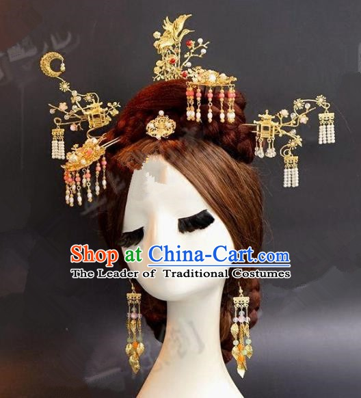 Asian Chinese Ancient Handmade Classical Hair Accessories Hairpins Xiuhe Suit Headdress Complete Set for Women