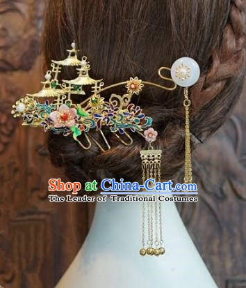 Chinese Handmade Classical Luxurious Hairpins Hair Accessories Ancient Tassel Step Shake for Women