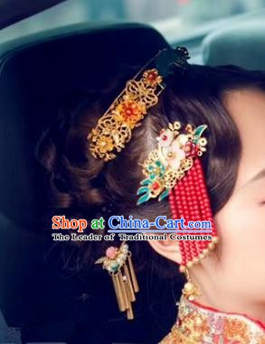 Chinese Ancient Handmade Classical Wedding Hair Accessories Hairpins Bride Headdress for Women