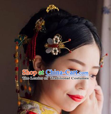 Chinese Ancient Handmade Classical Wedding Hair Accessories Xiuhe Suit Hairpins Bride Headdress for Women