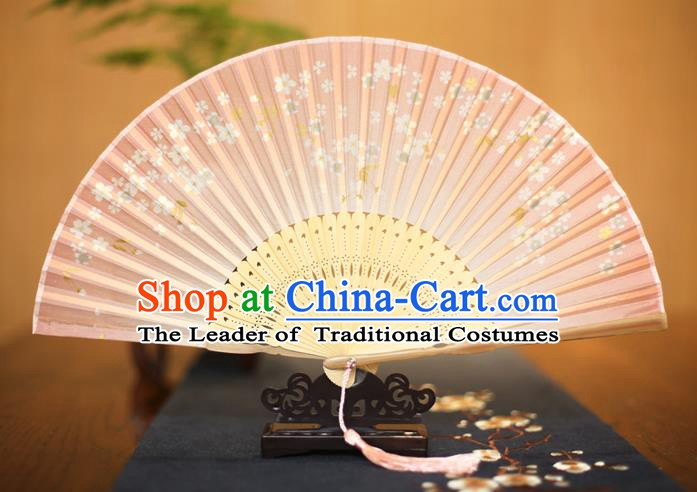 Traditional Chinese Crafts Printing Pink Folding Fan, China Sensu Paper Fans for Women