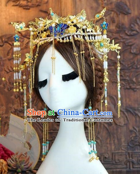 Chinese Ancient Handmade Classical Wedding Hair Accessories Xiuhe Suit Blueing Headwear Hairpins for Women