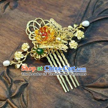 Chinese Handmade Classical Hair Accessories Ancient Palace Lady Hairpins Golden Hair Comb for Women