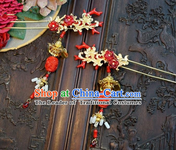 Chinese Handmade Classical Hair Accessories Ancient Hairpins Bride Red Hair Clip for Women