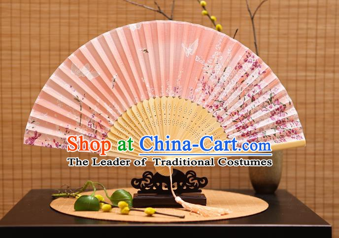 Traditional Chinese Crafts Printing Flowers Butterfly Pink Folding Fan, China Sensu Paper Fans for Women