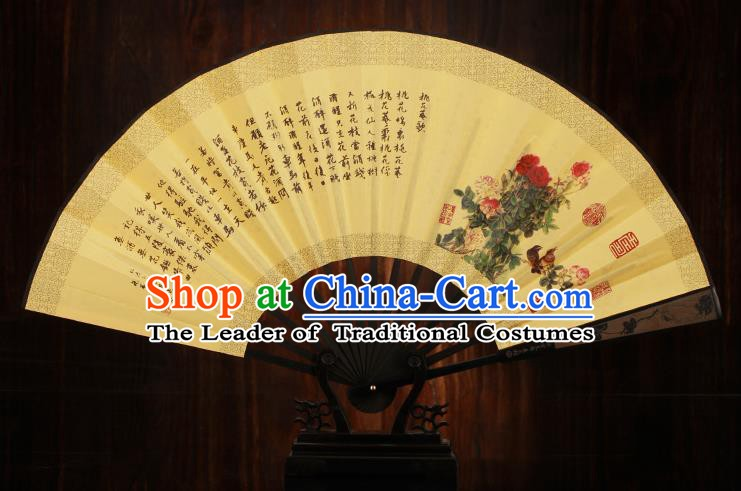 Traditional Chinese Crafts Printing Peony Folding Fan, China Sculpture Framework Silk Fans for Men