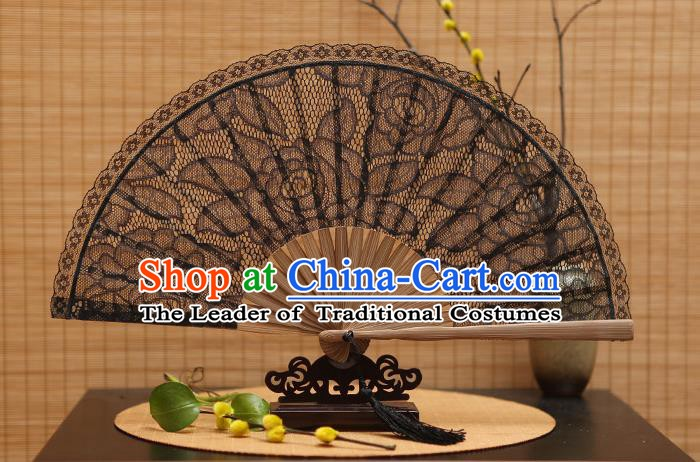 Traditional Chinese Crafts Black Lace Folding Fan Hollow Out Rose Fans for Women