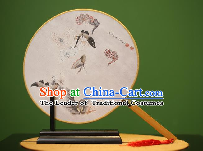 Traditional Chinese Crafts Printing Butterfly Round Fan, China Palace Fans Princess Silk Circular Fans for Women
