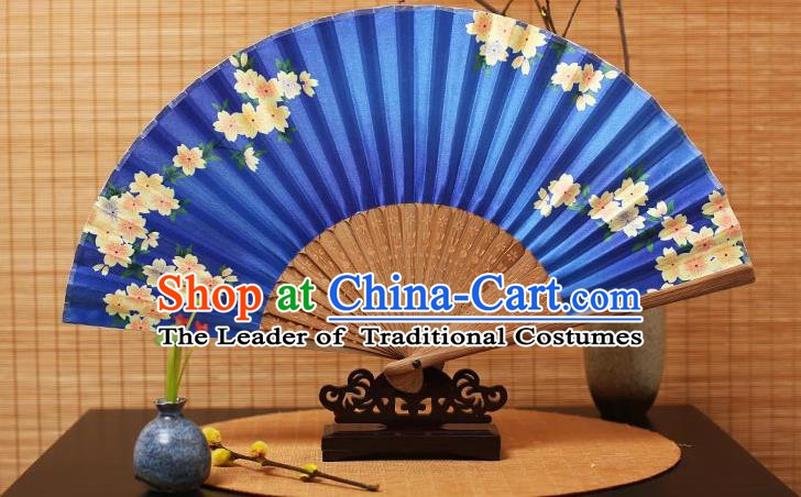 Traditional Chinese Crafts Folding Fans Printing Flowers Blue Silk Fan for Women