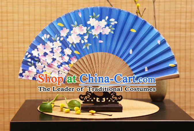 Traditional Chinese Crafts Folding Fans Printing Begonia Flowers Blue Silk Fan for Women