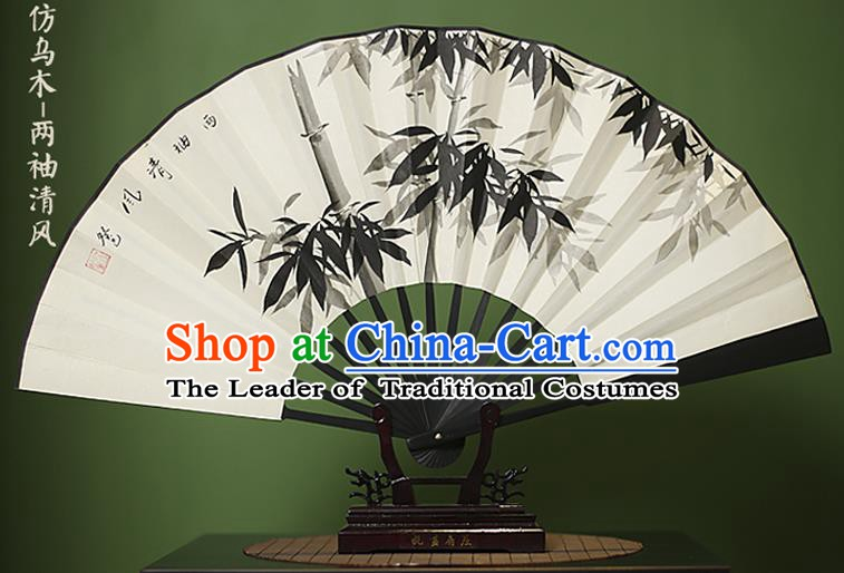 Traditional Chinese Crafts Ink Painting Bamboo Folding Fan Paper Fans for Women