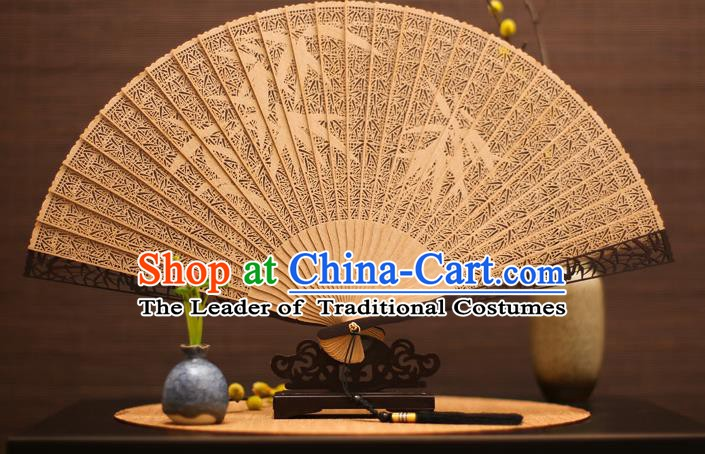 Traditional Chinese Crafts Sandalwood Bamboo Leaves Folding Fan Sandal Fans for Women