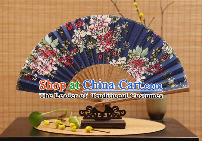 Traditional Chinese Crafts Folding Fans Painting Flowers Navy Silk Fan for Women