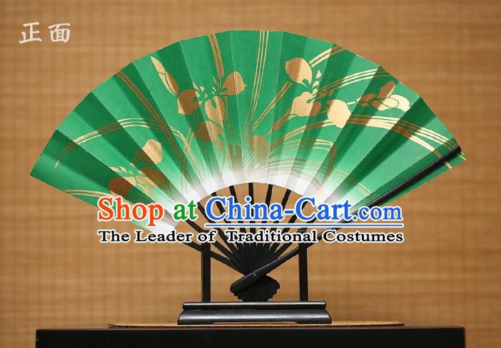 Traditional Chinese Crafts Printing Orchid Green Paper Folding Fan Sensu Fans for Women