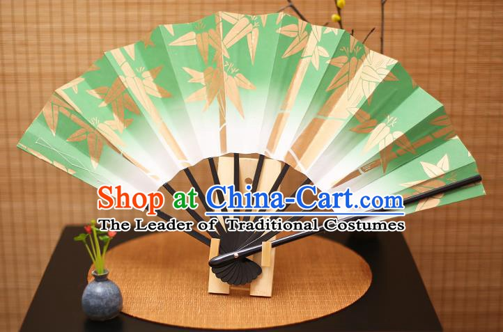 Traditional Chinese Crafts Printing Bamboo Green Paper Folding Fan Sensu Fans for Women