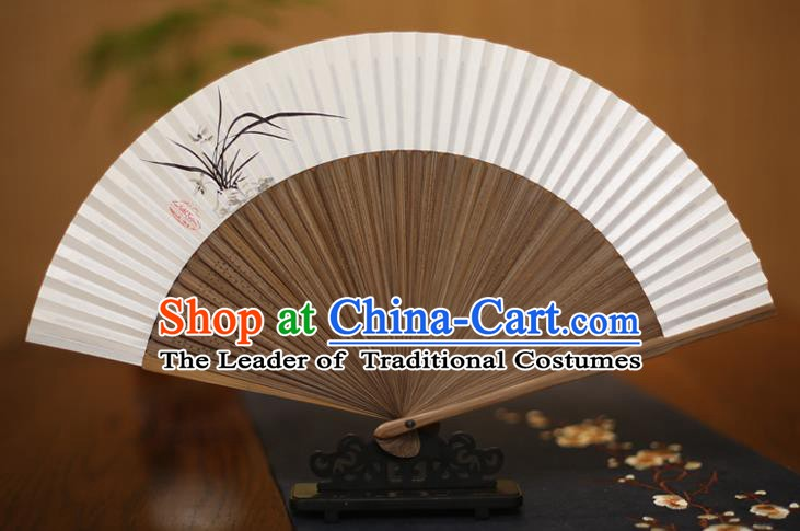 Traditional Chinese Crafts Ink Painting Orchid Folding Fan Paper Fans for Men