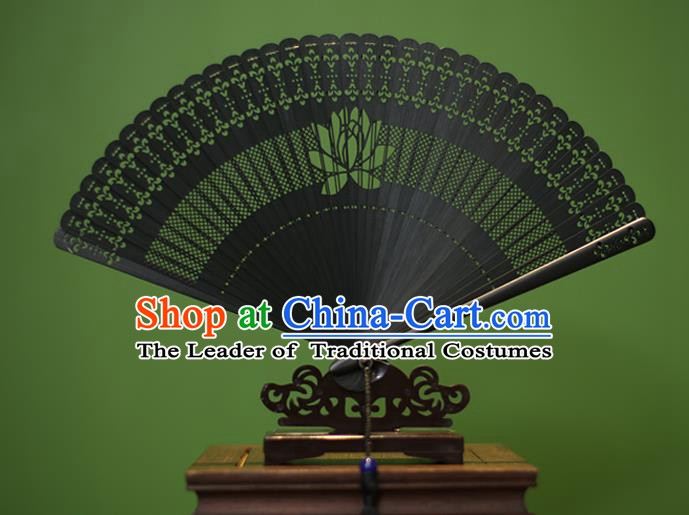 Traditional Chinese Crafts Black Folding Fan Hollow Out Lotus Bamboo Fans for Women