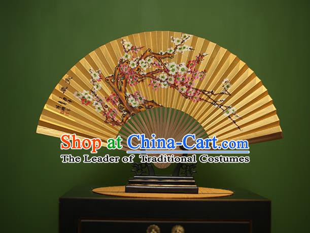 Traditional Chinese Crafts Printing Plum Blossom Folding Fan, China Beijing Opera Paper Fans for Men
