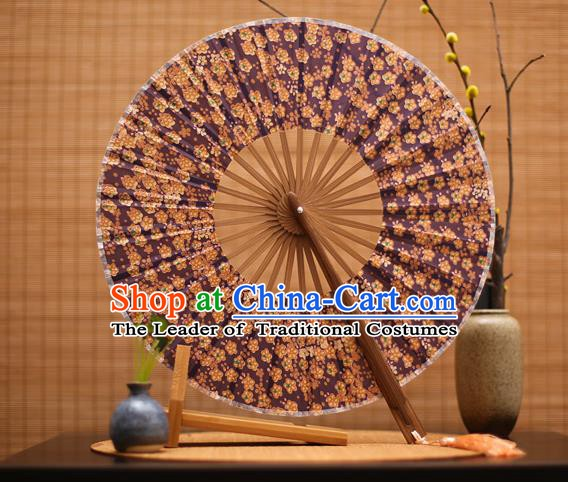 Traditional Chinese Crafts Printing Purple Silk Folding Fan, China Beijing Opera Round Fans for Women