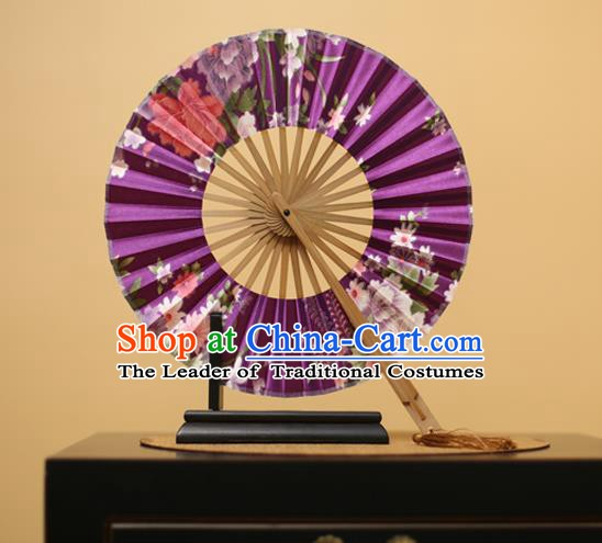 Traditional Chinese Crafts Printing Flowers Purple Silk Folding Fan, China Beijing Opera Round Fans for Women