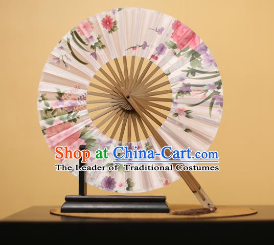Traditional Chinese Crafts Printing Flowers White Silk Folding Fan, China Beijing Opera Round Fans for Women