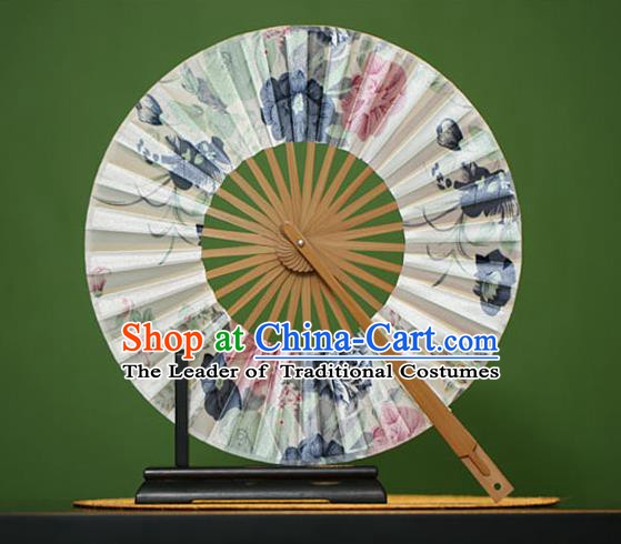 Traditional Chinese Crafts Printing Flowers Silk Folding Fan, China Beijing Opera Round Fans for Women