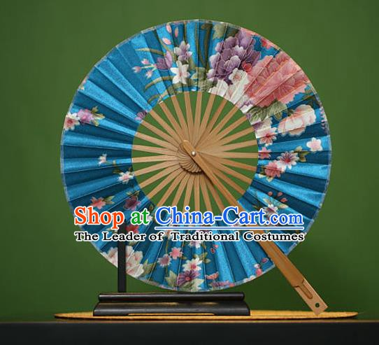 Traditional Chinese Crafts Printing Flowers Blue Silk Folding Fan, China Beijing Opera Round Fans for Women
