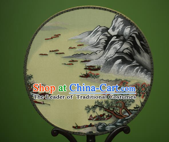 Traditional Chinese Crafts Embroidered Landscape Round Fan, China Palace Fans Princess Silk Circular Fans for Women