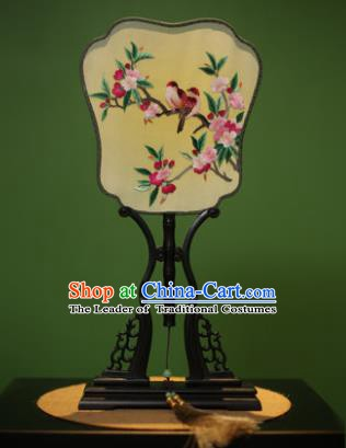 Traditional Chinese Crafts Embroidered Birds Flowers Silk Fan, China Palace Fans Princess Square Fans for Women