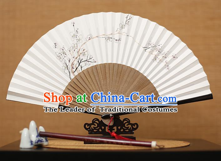 Traditional Chinese Crafts Hand Painting Plum Blossom Folding Fan, China Handmade Xuan Paper Fans for Men
