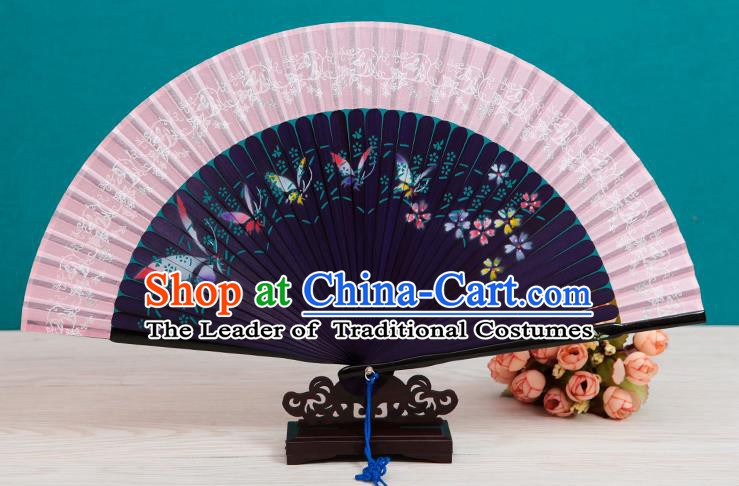 Traditional Chinese Crafts Folding Fan, China Printing Butterfly Purple Silk Fans for Women