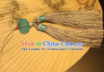 Traditional Chinese Crafts Folding Fan Pendant Grey Tassel Fan Accessories for Women