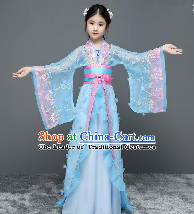 Traditional Chinese Tang Dynasty Embroidered Costume, China Ancient Imperial Concubine Hanfu Trailing Dress for Kids