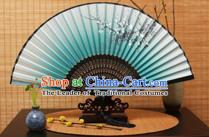 Traditional Chinese Crafts Printing Plum Blossom Green Folding Fan, China Handmade Bamboo Fans for Women