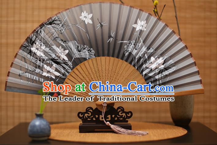 Traditional Chinese Crafts Printing Lotus Grey Folding Fan, China Handmade Bamboo Fans for Women