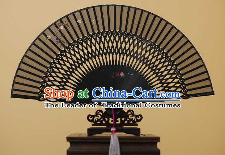 Traditional Chinese Crafts Printing Flower Black Silk Folding Fan, China Handmade Bamboo Fans for Women