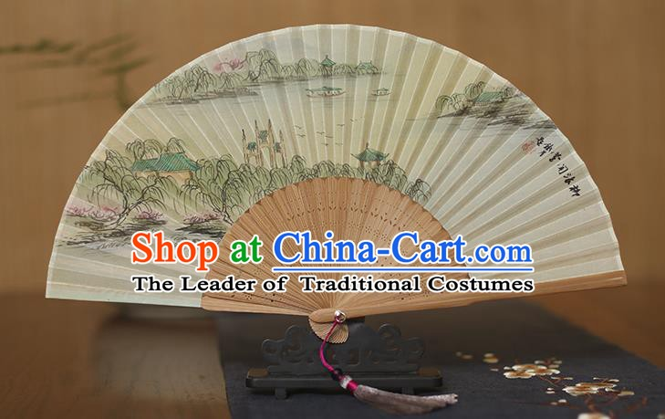 Traditional Chinese Crafts Printing Silk Folding Fan, China Handmade Bamboo Fans for Women