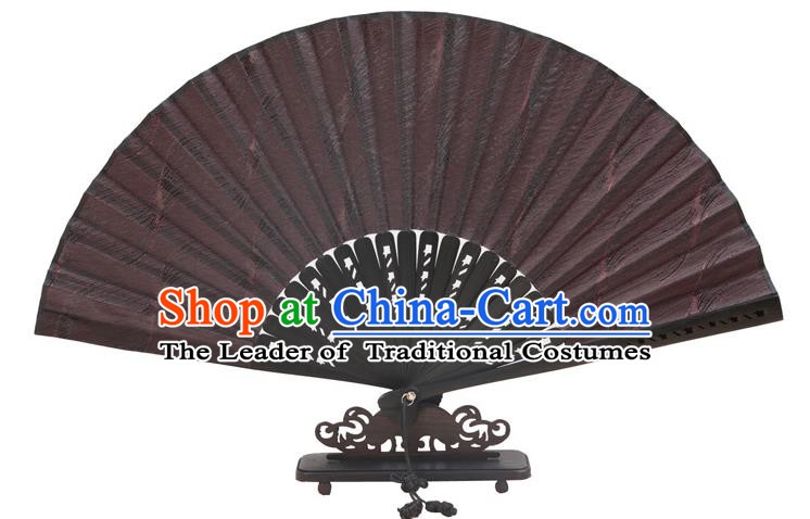 Traditional Chinese Crafts Black Silk Folding Fan, China Handmade Bamboo Fans for Women