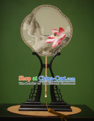 Traditional Chinese Crafts Suzhou Embroidery Silk Fan, China Palace Fans Princess Embroidered Lotus Fans for Women