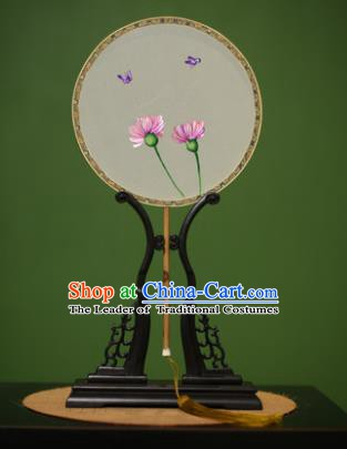 Traditional Chinese Crafts Suzhou Embroidery Silk Fan, China Palace Fans Princess Embroidered Flowers Fans for Women