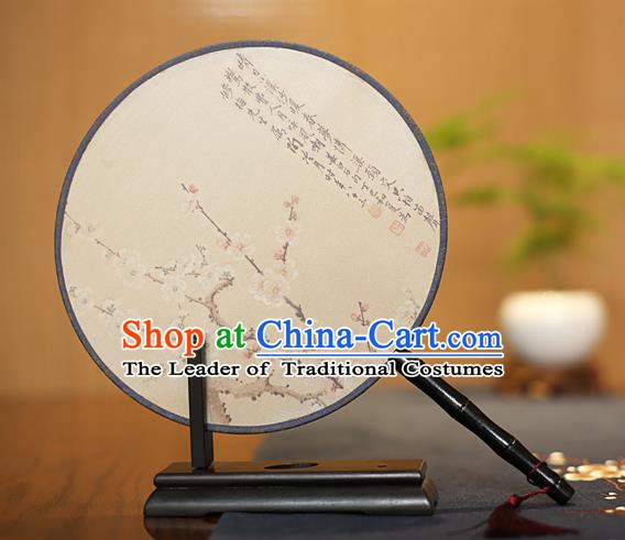 Traditional Chinese Crafts Printing Wintersweet Silk Round Fan, China Palace Fans Princess Circular Fans for Women