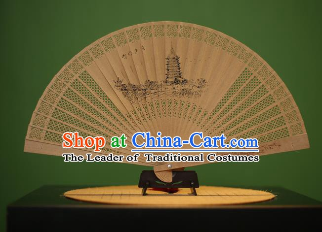Traditional Chinese Crafts Sandalwood Folding Fan, China Handmade Carving Leifeng Pagoda Incienso Fans for Women