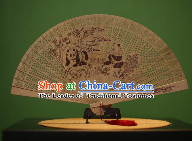 Traditional Chinese Crafts Sandalwood Folding Fan, China Handmade Carving Panda Incienso Fans for Women