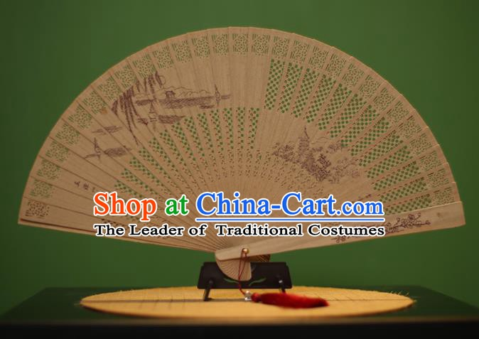 Traditional Chinese Crafts Sandalwood Folding Fan, China Handmade Carving West Lake Incienso Fans for Women