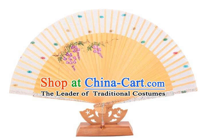 Traditional Chinese Crafts White Silk Folding Fan, China Handmade Printing Wisteria Bamboo Fans for Women