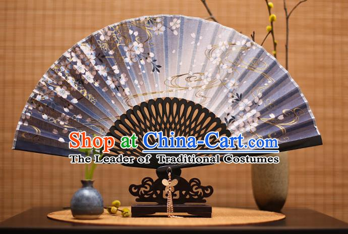 Traditional Chinese Crafts Printing Flowers Classical Folding Fan, China Handmade Navy Silk Fans for Women