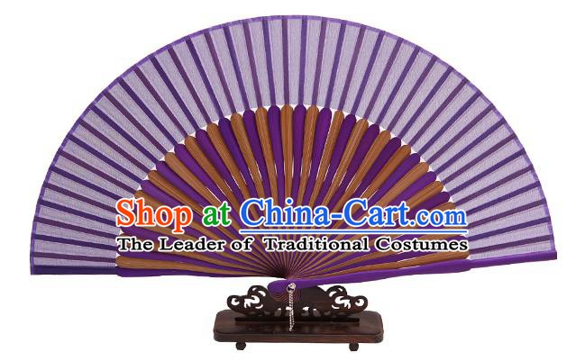 Traditional Chinese Crafts Purple Silk Folding Fan, China Handmade Bamboo Bone Fans for Women
