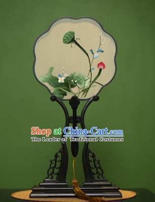 Traditional Chinese Crafts Suzhou Embroidery Palace Fan, China Princess Embroidered Lotus Seedpod Silk Fans for Women